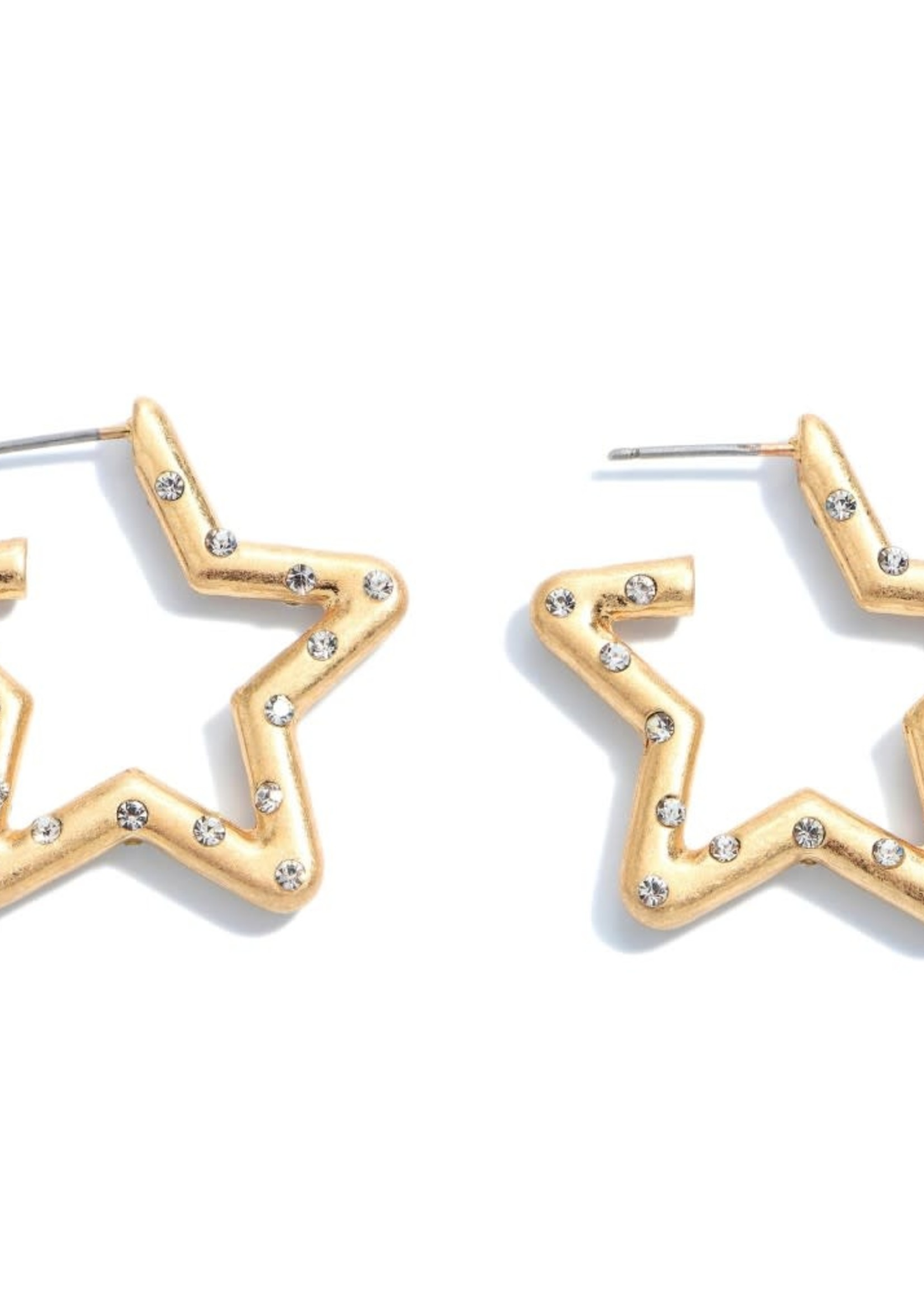 Judson Rhinestone Star Hoop Earrings