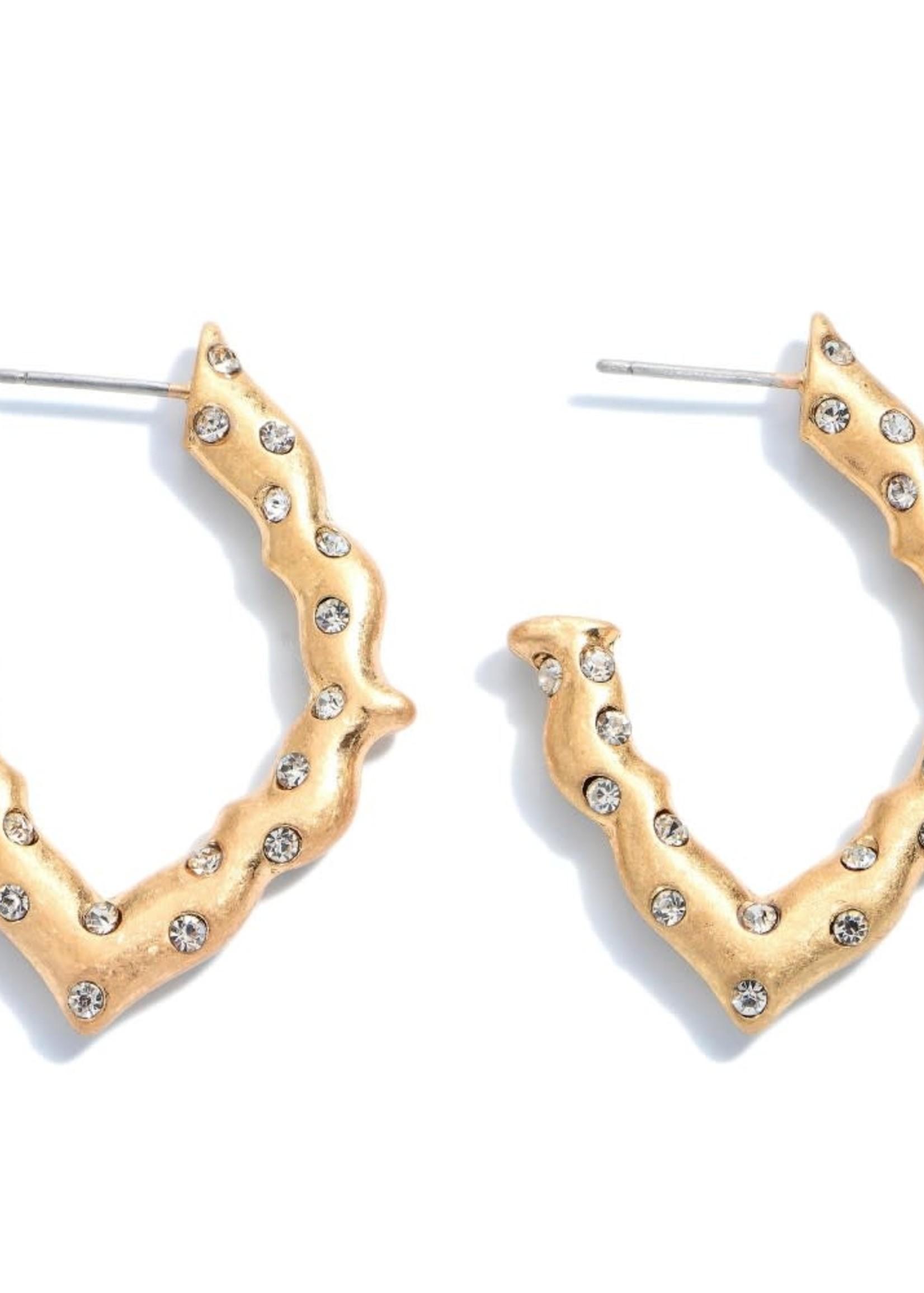 Judson Rhinestone Moroccan Hoop Earrings
