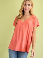 L Love Relaxed V-Neck Top