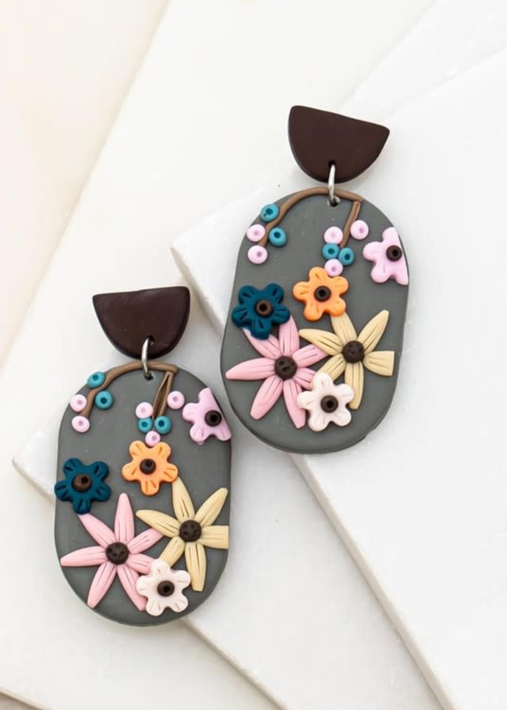 LA 3 Accessories Polymer Clay Oval Earrings