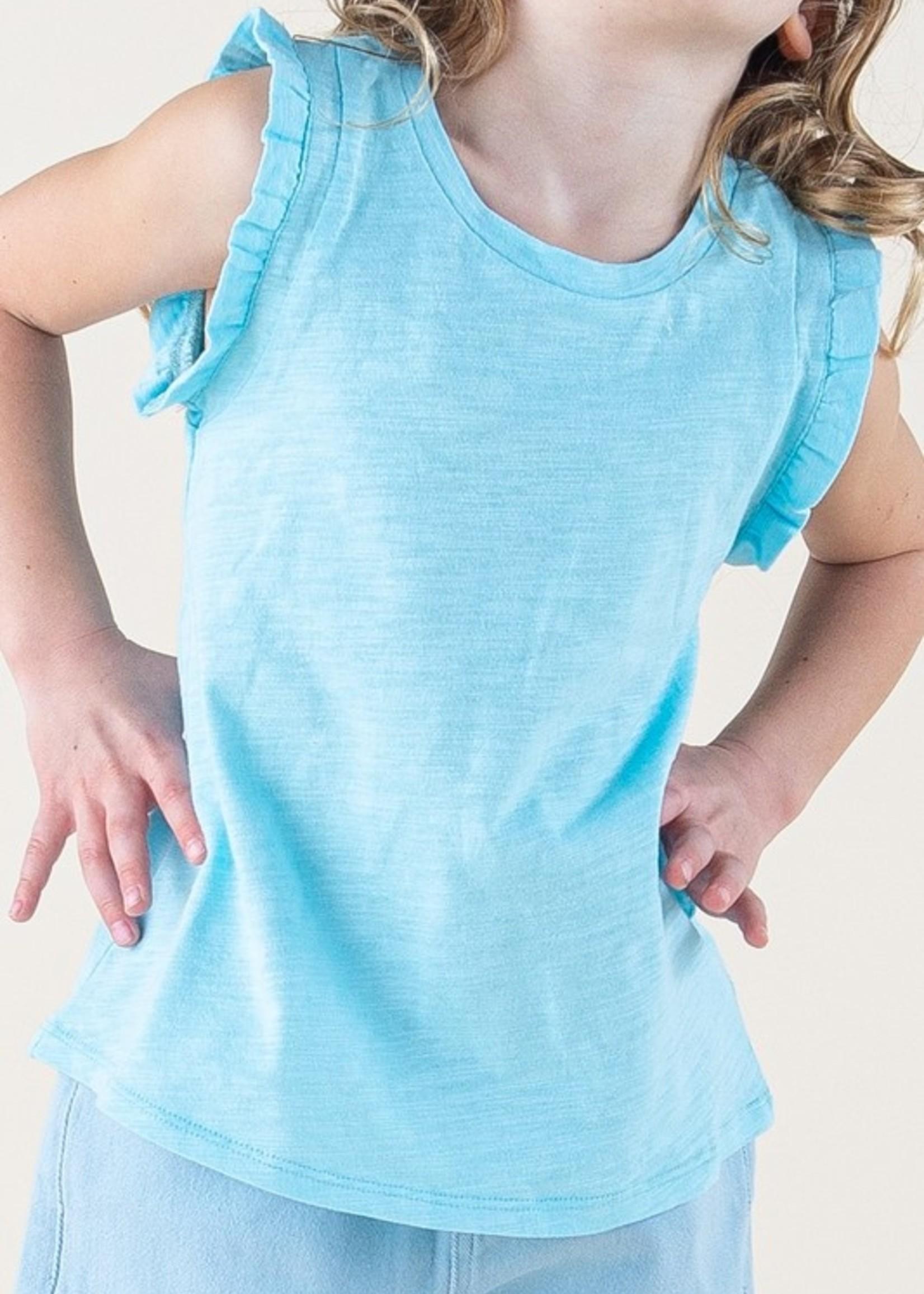 12PM Blue Ruffled Sleeve Top