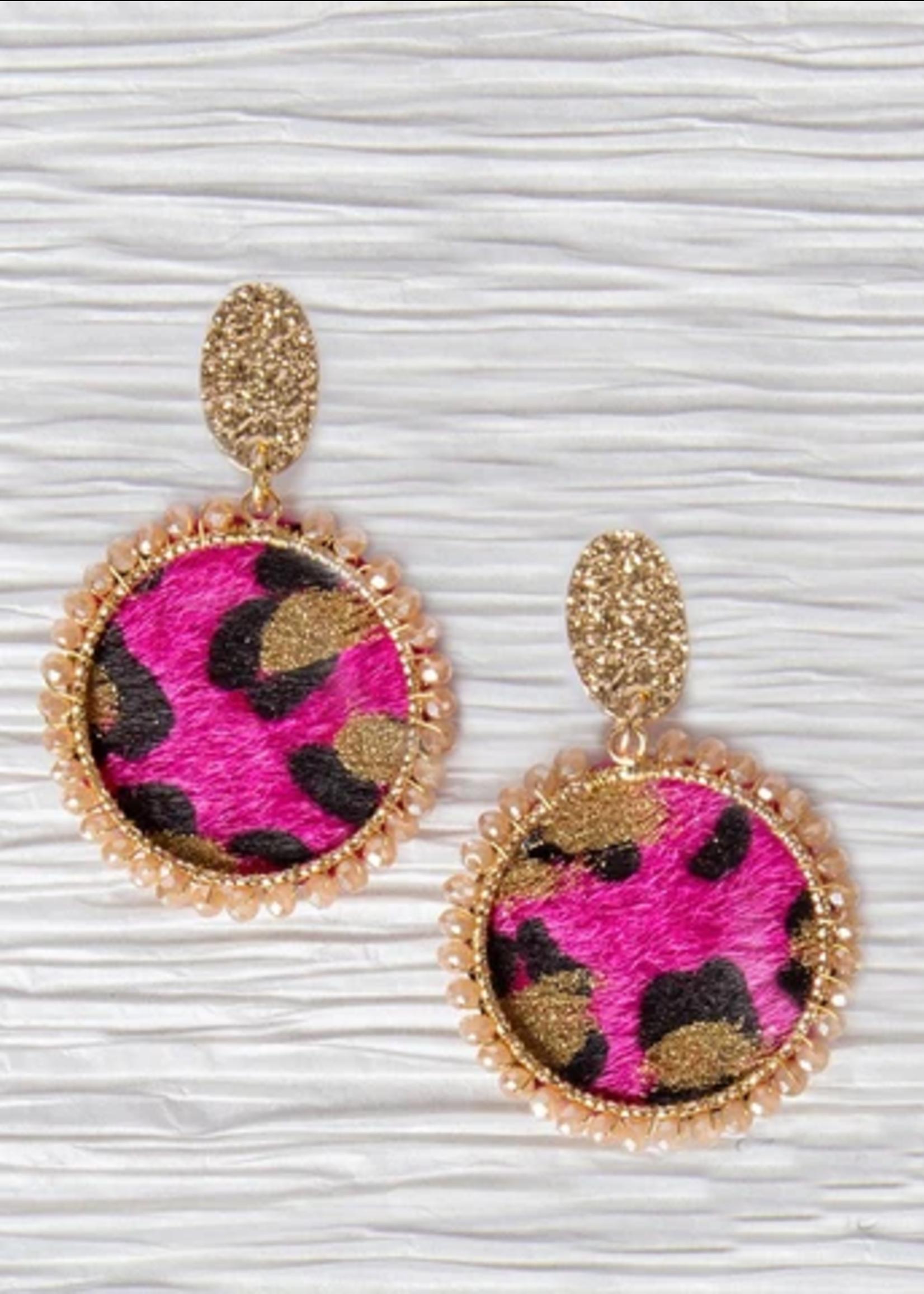 Fuchsia Leopard Circle Earrings