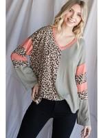 Jodi FL Varsity Leopard Patch Top