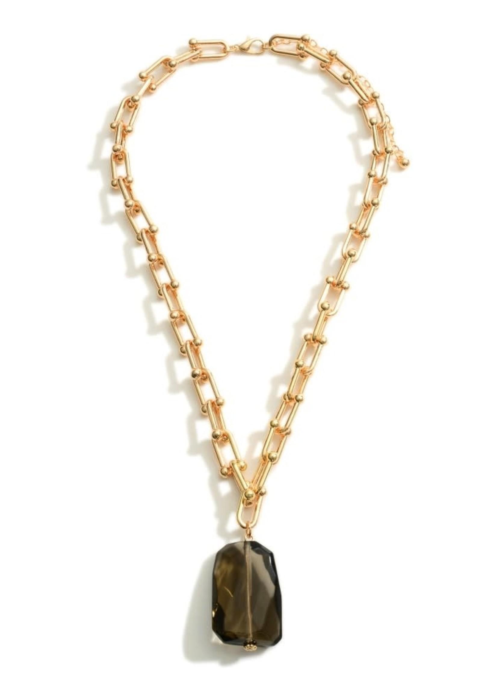 Smokey Quartz Chain Link Necklace