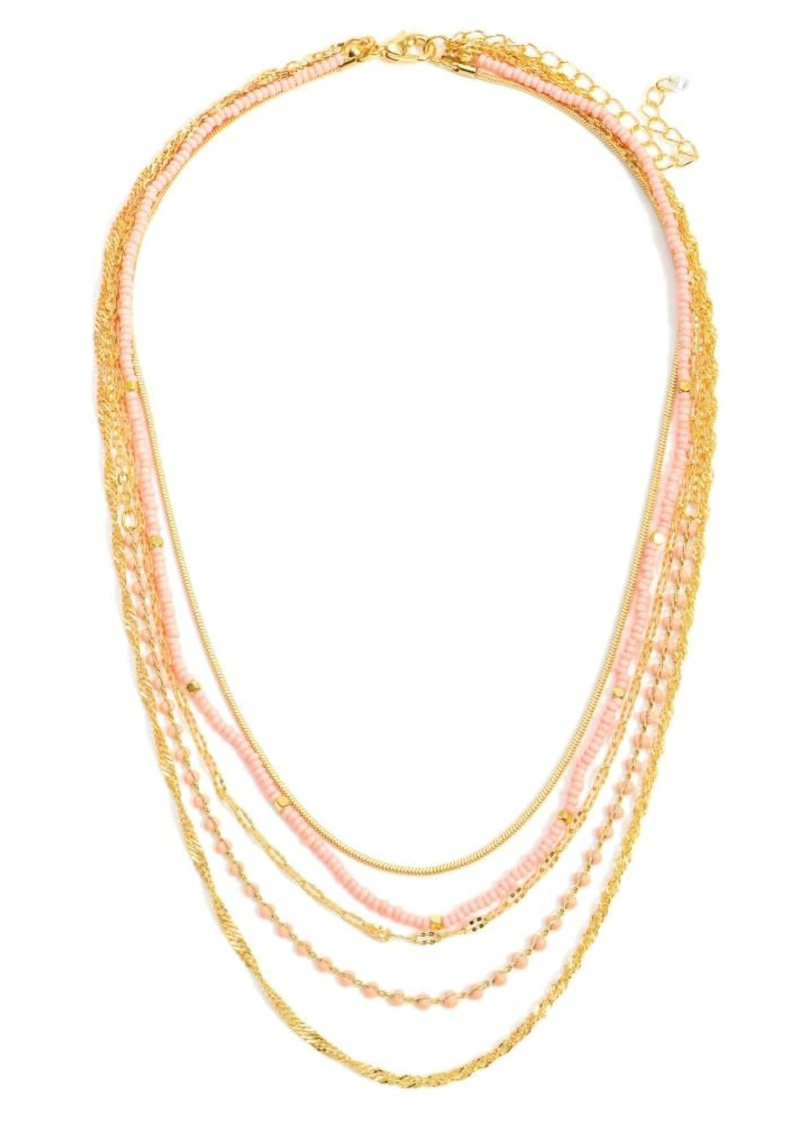 Gold Beaded Layered Necklace