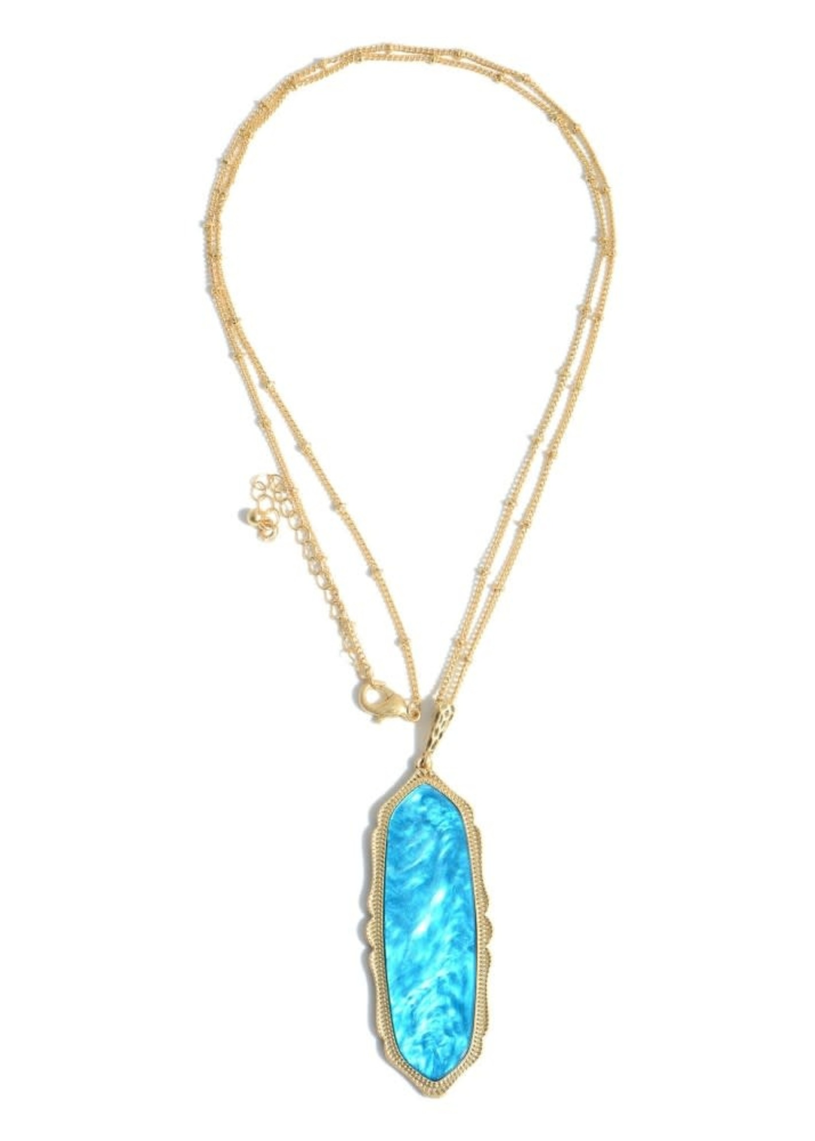 Turquoise Glass Moroccan Pendant Necklace