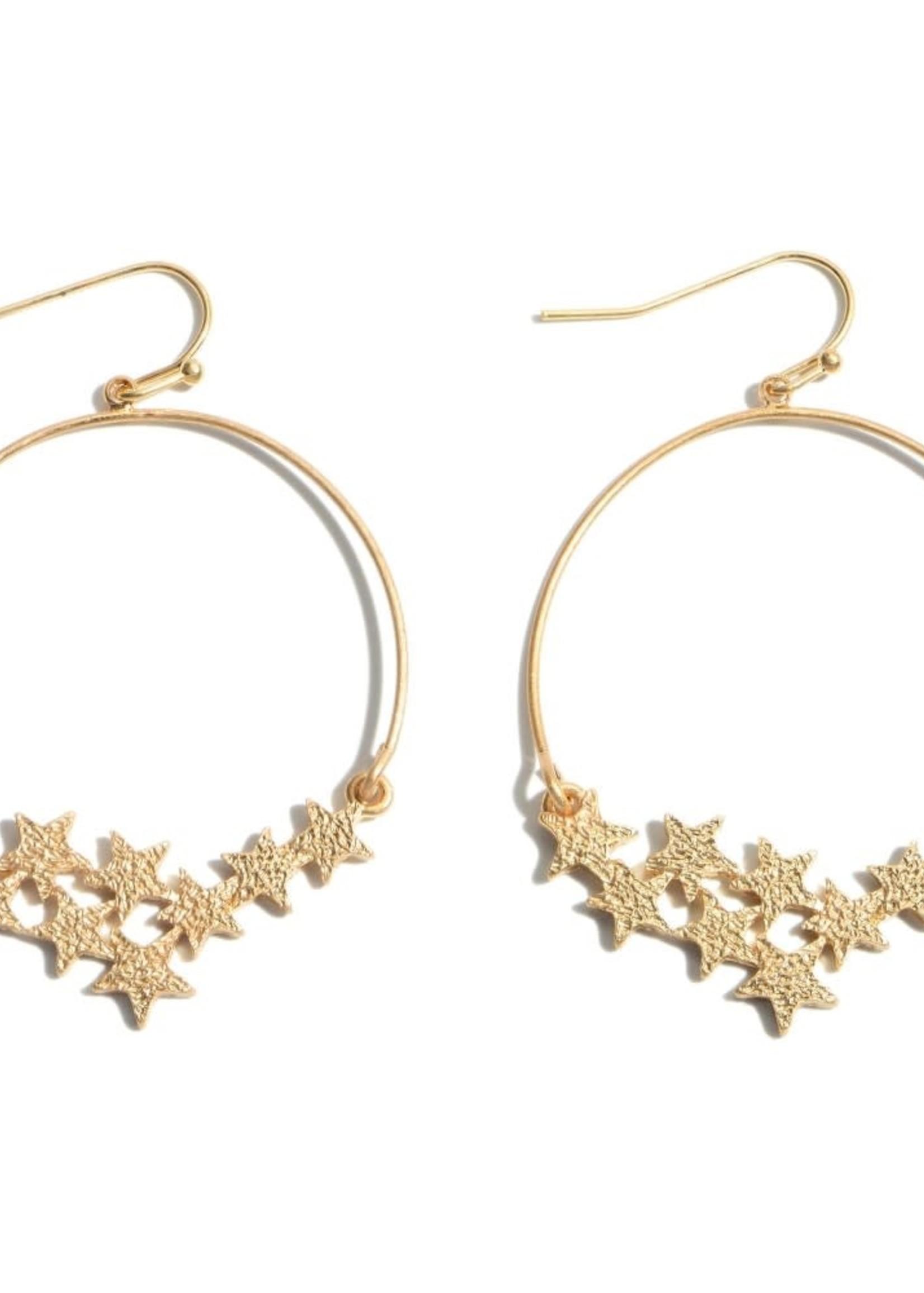 Round Shimmer Star Drop Earrings