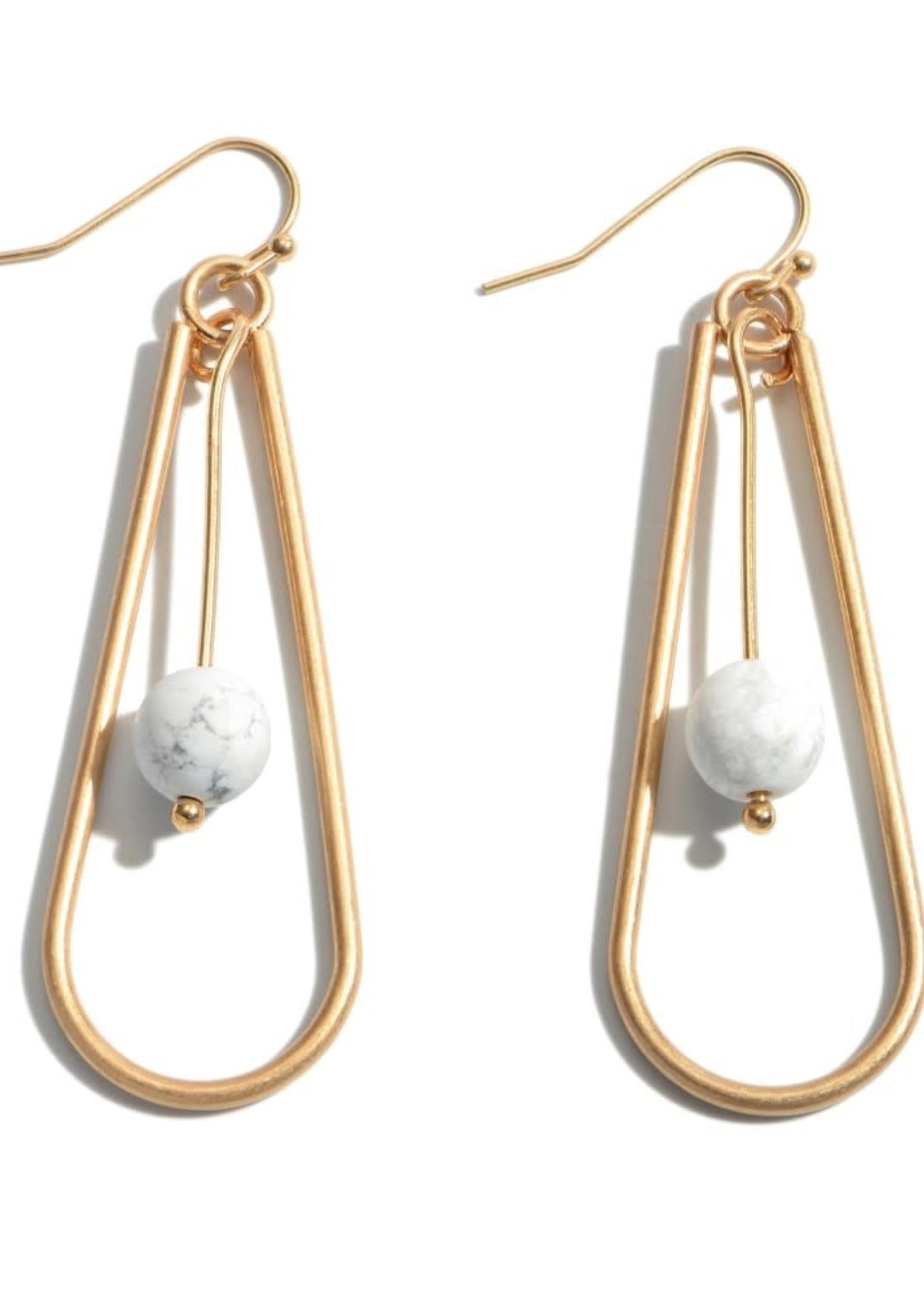 White Natural Stone Nested Teardrop Earrings
