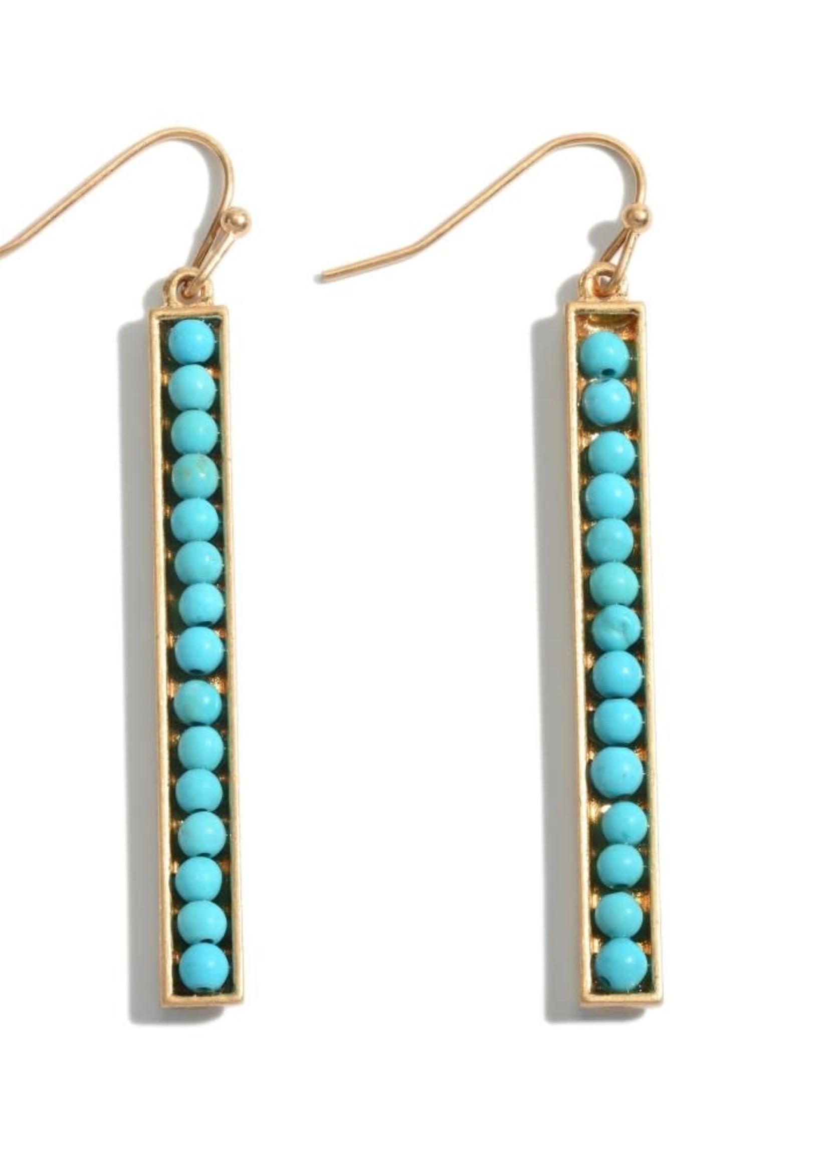 Turquoise Beaded Bar Earrings