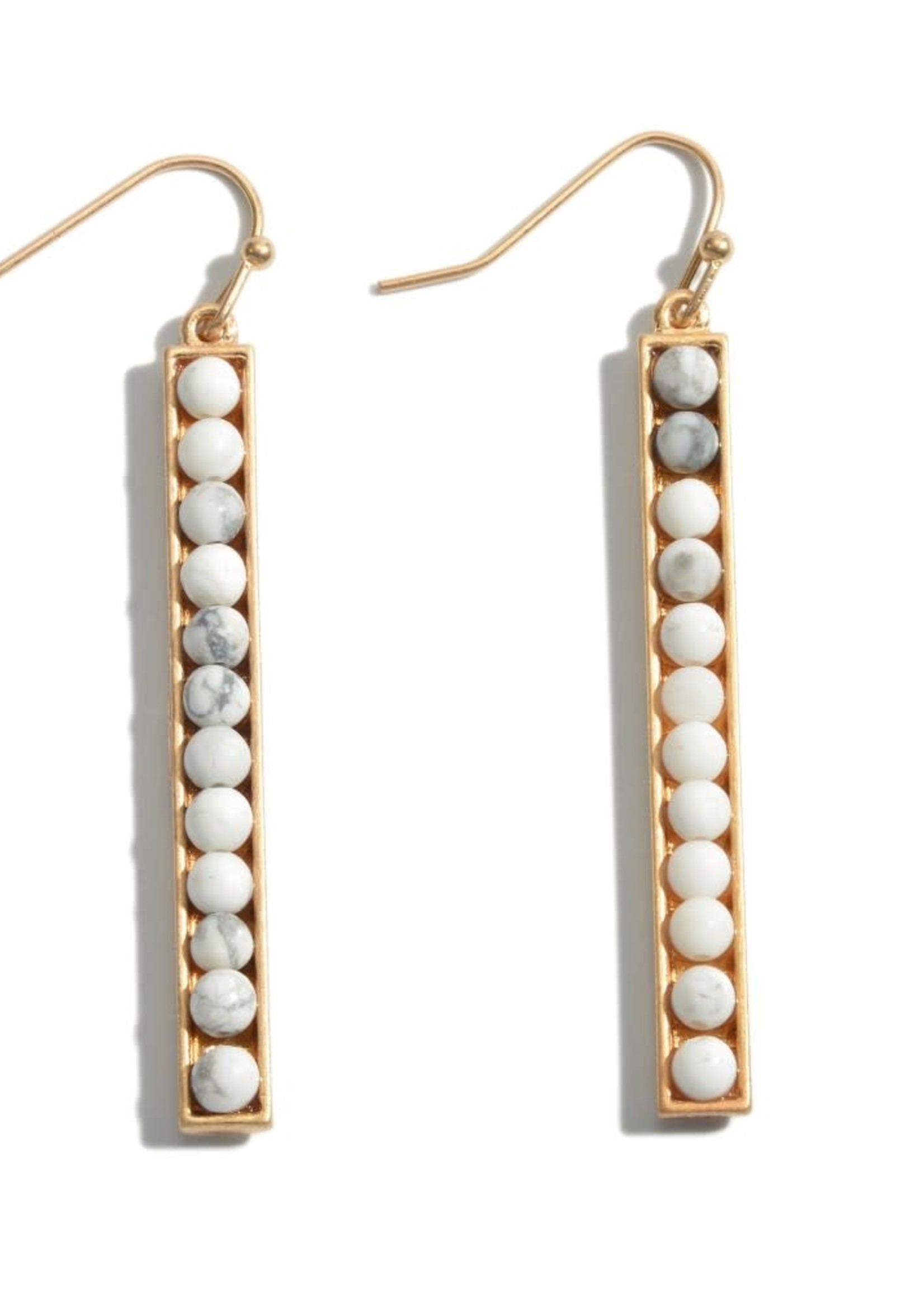 White Semi Precious Beaded Bar Earrings