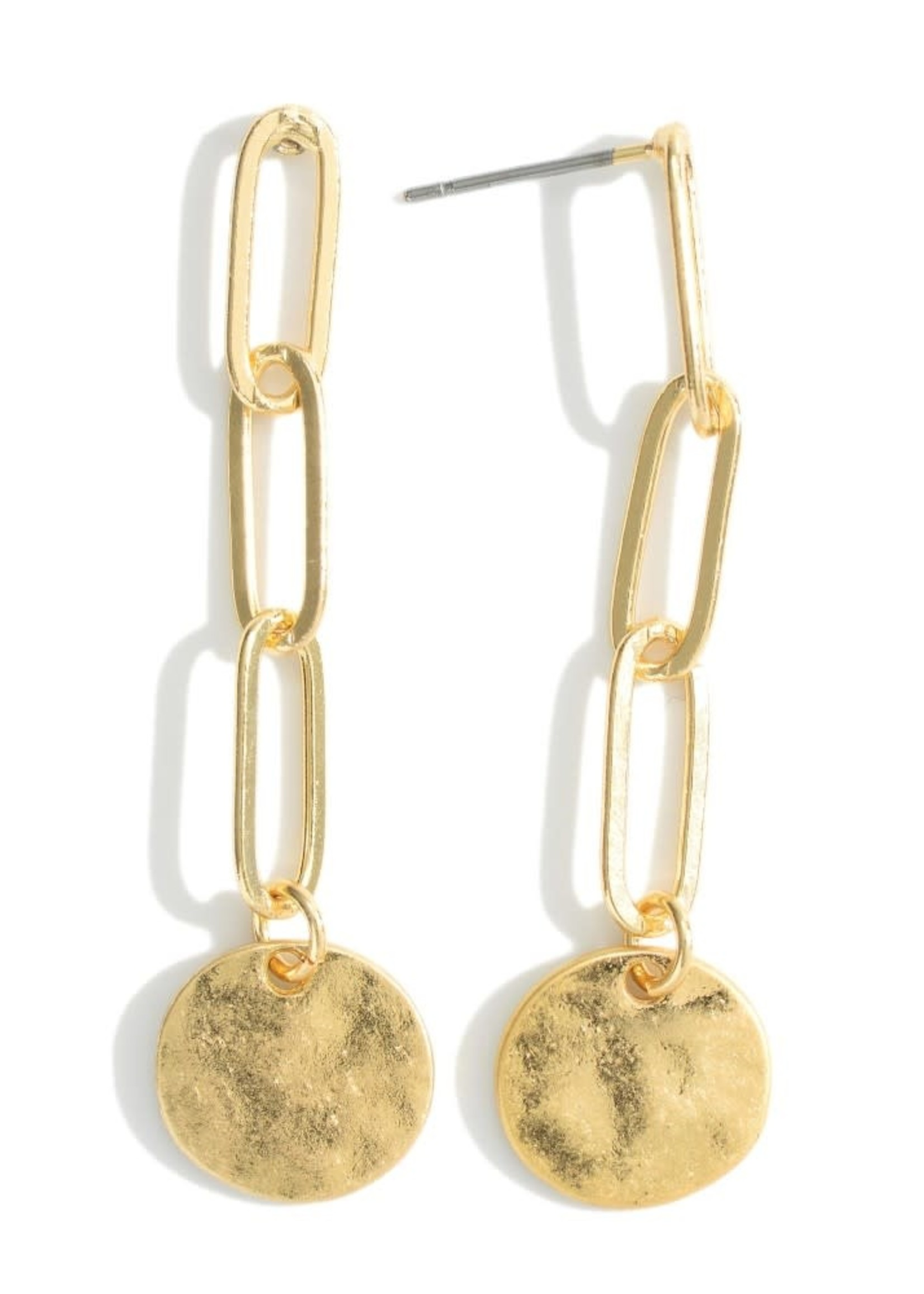 Metal Chain Earrings Featuring Hammered Disc Pendant