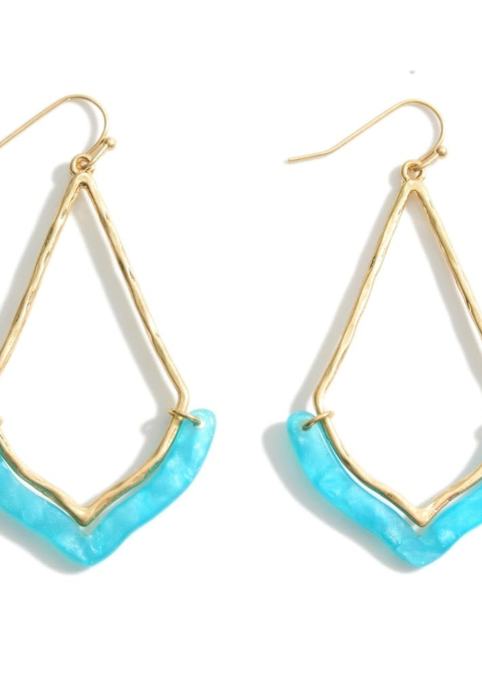 Gold Earrings Featuring Resin Accents