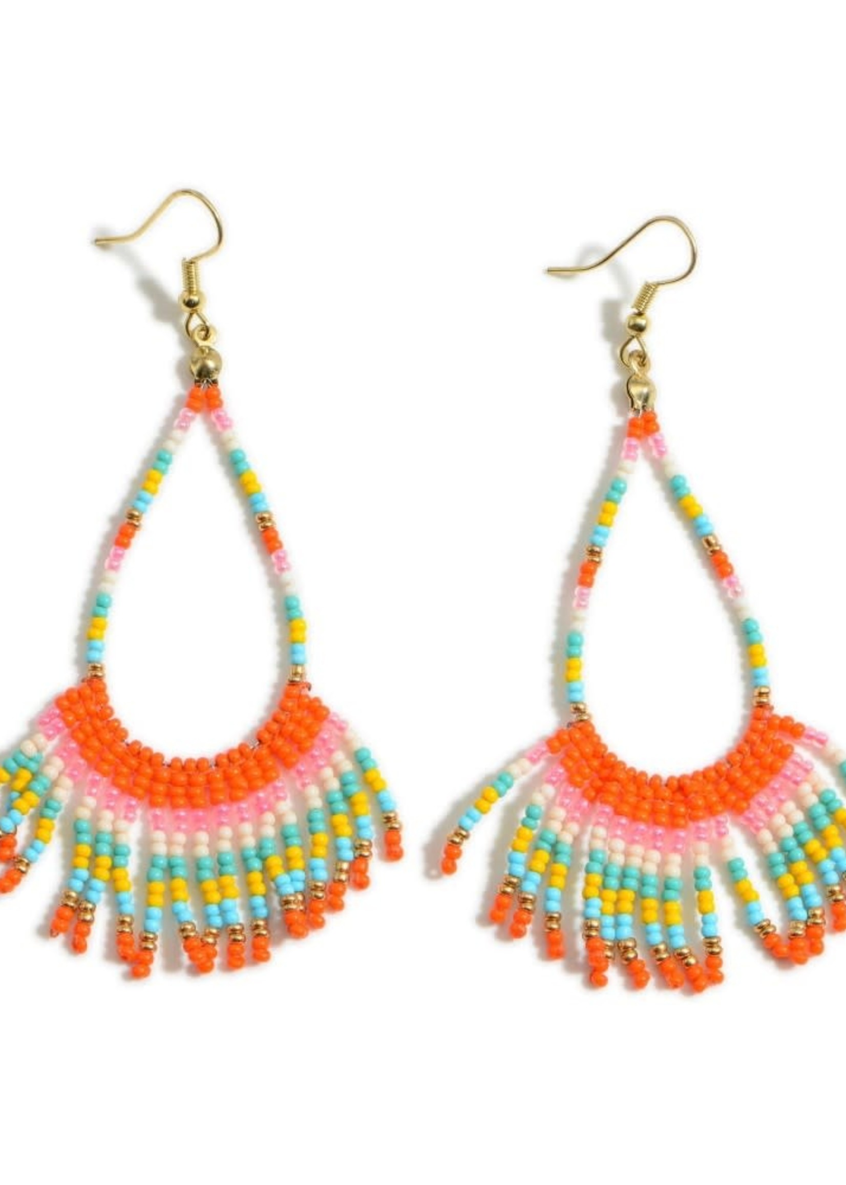 Beaded Drop Earrings Featuring Gold Details