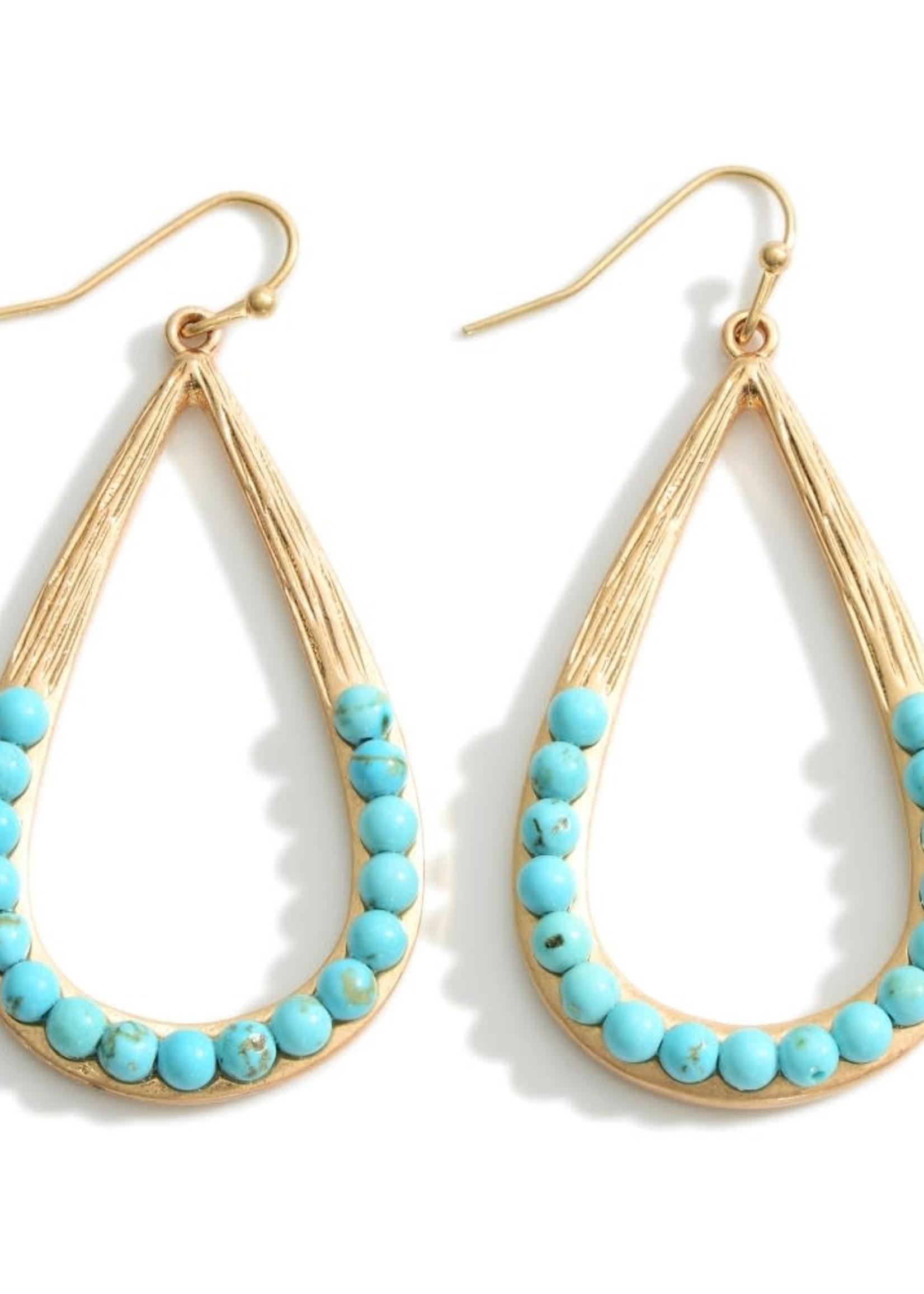 Turquoise Metal Teardrop Earrings