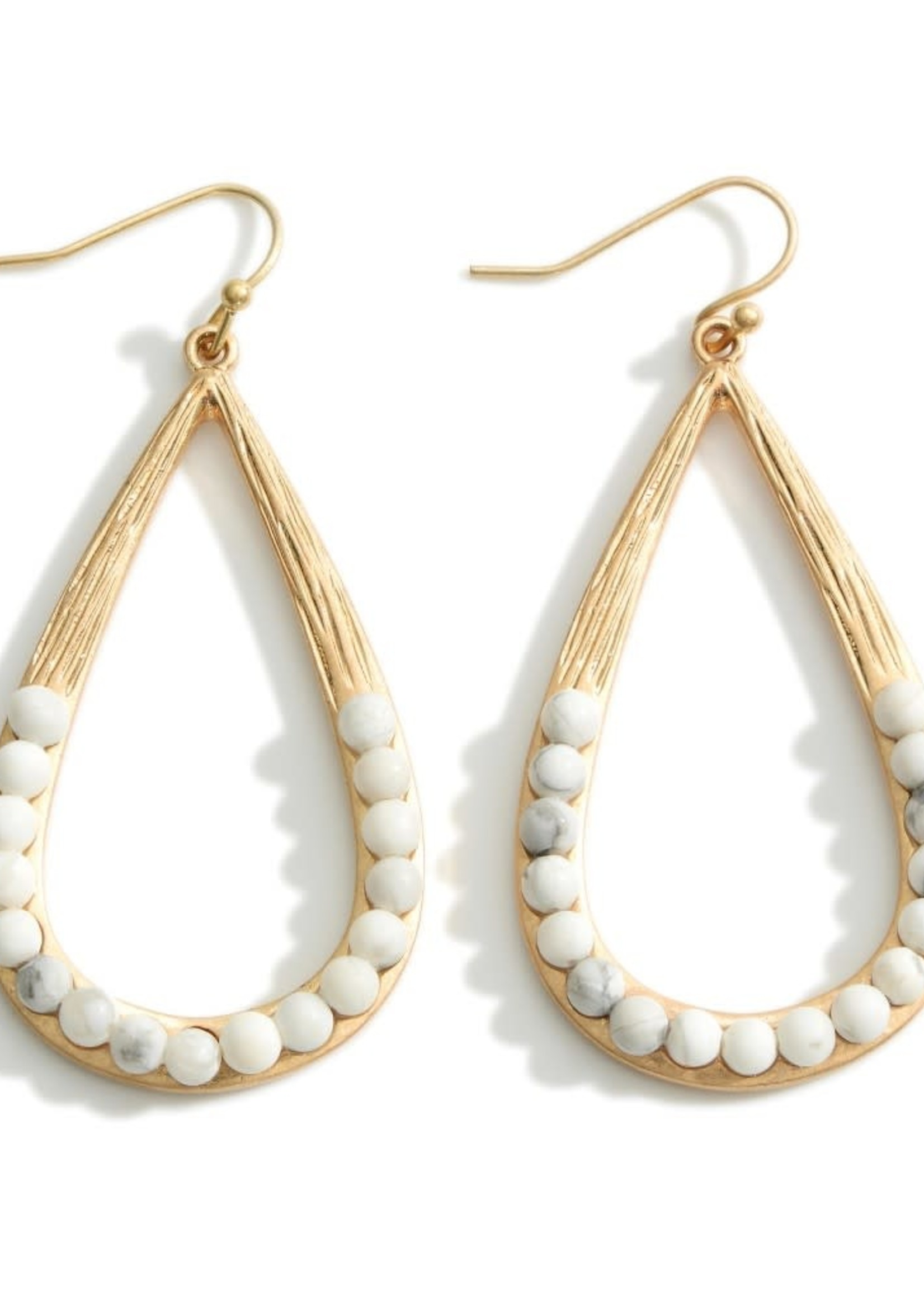 White Howlite Metal Teardrop Earrings