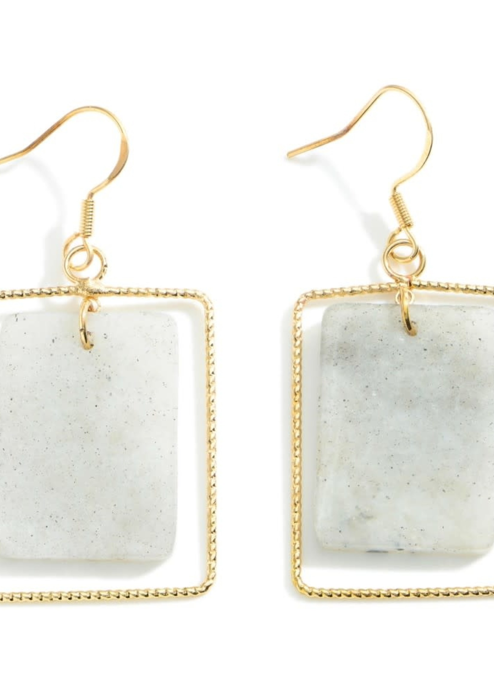 Gold Drop Earrings Featuring Natural Stone Accents