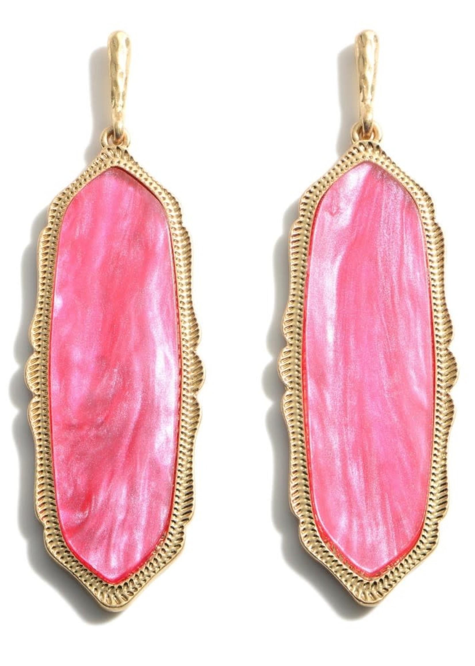Pink Moroccan Glass Stone Drop Earrings