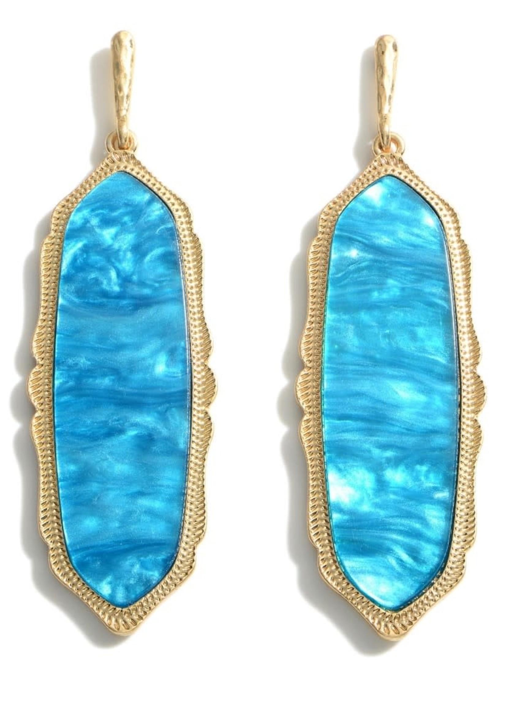 Turquoise Moroccan Glass Stone Drop Earrings