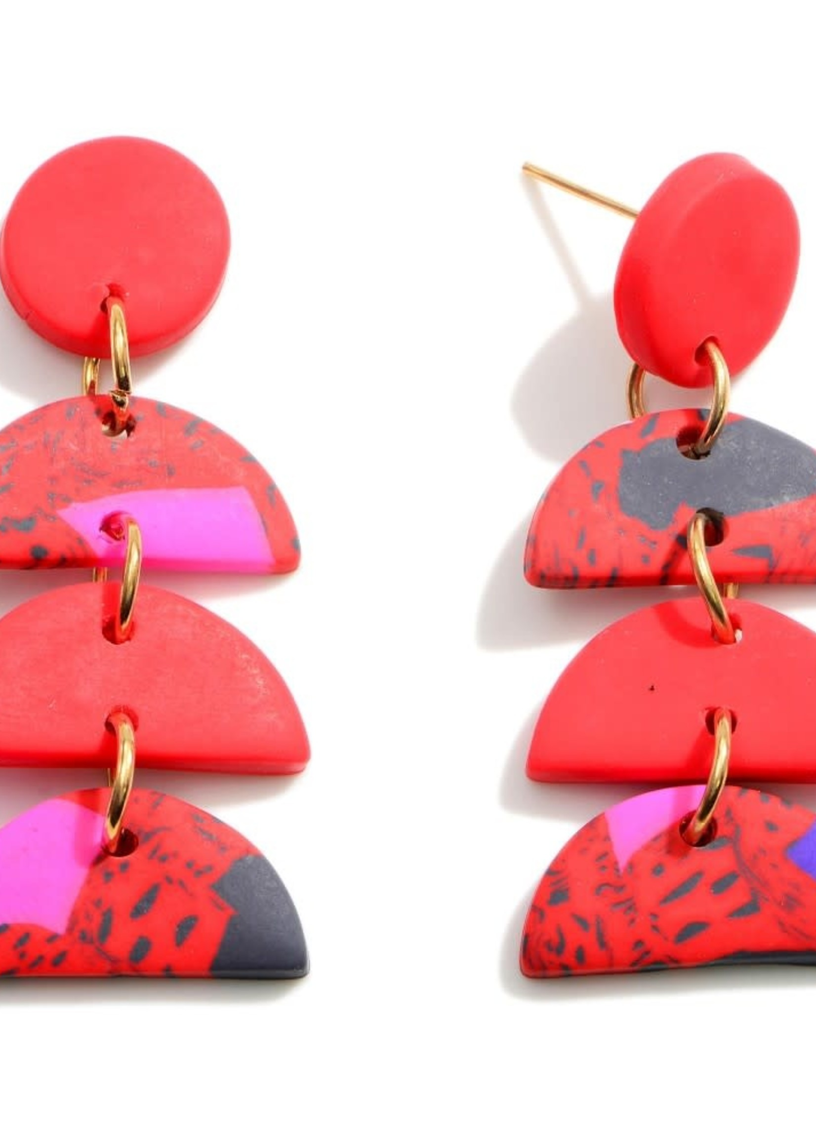 Red Clay Polymer Drop Earrings