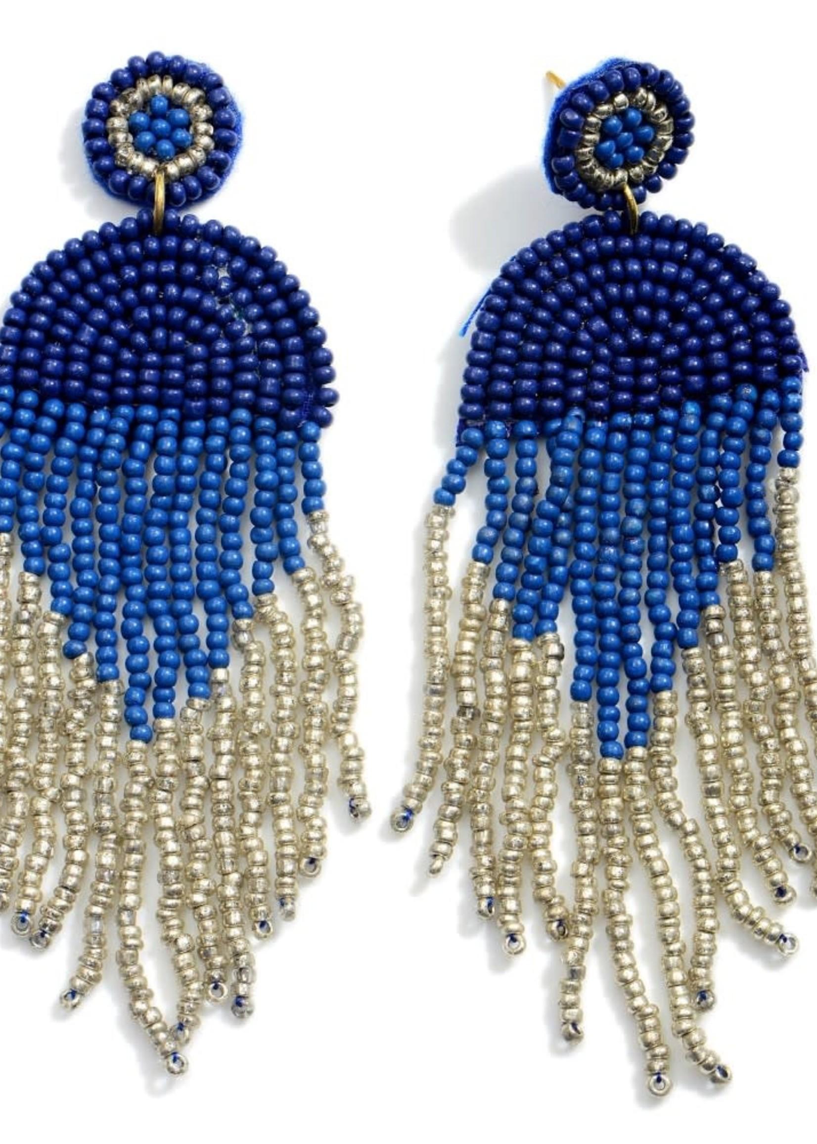 Navy Multicolor Beaded Earrings