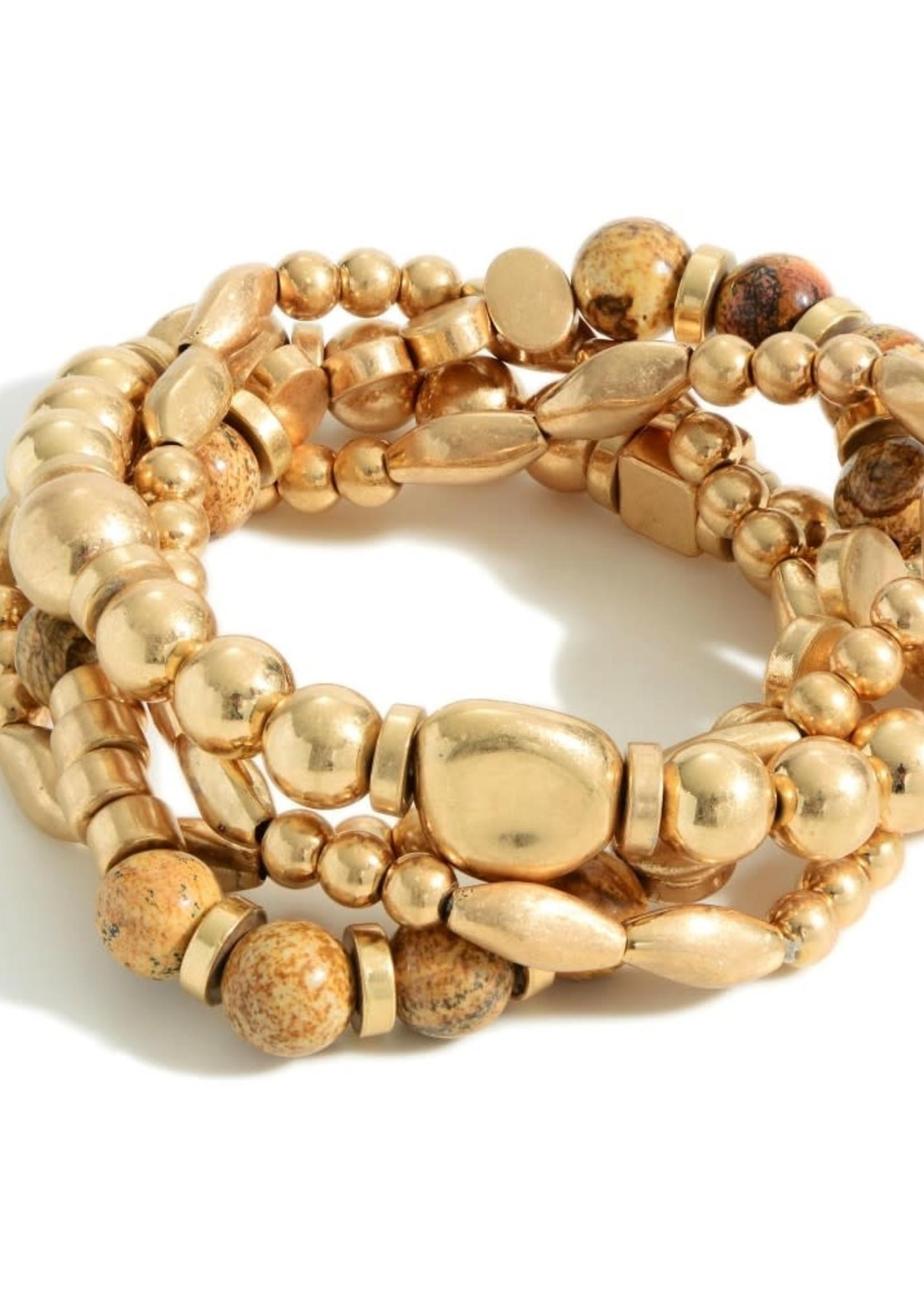 Gold Beaded Stone Bracelet Stack