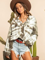 Tie Dye French Terry Button Down Shacket