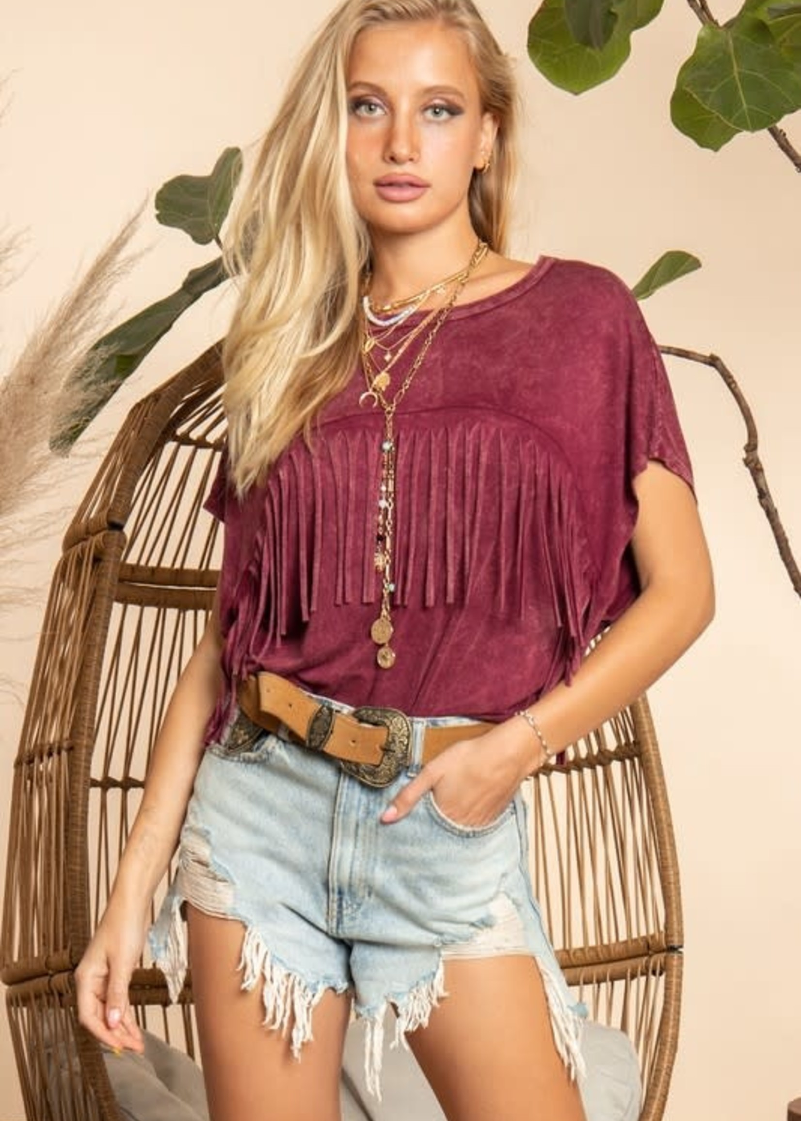 Wine Mineral Dyed Fringe Top