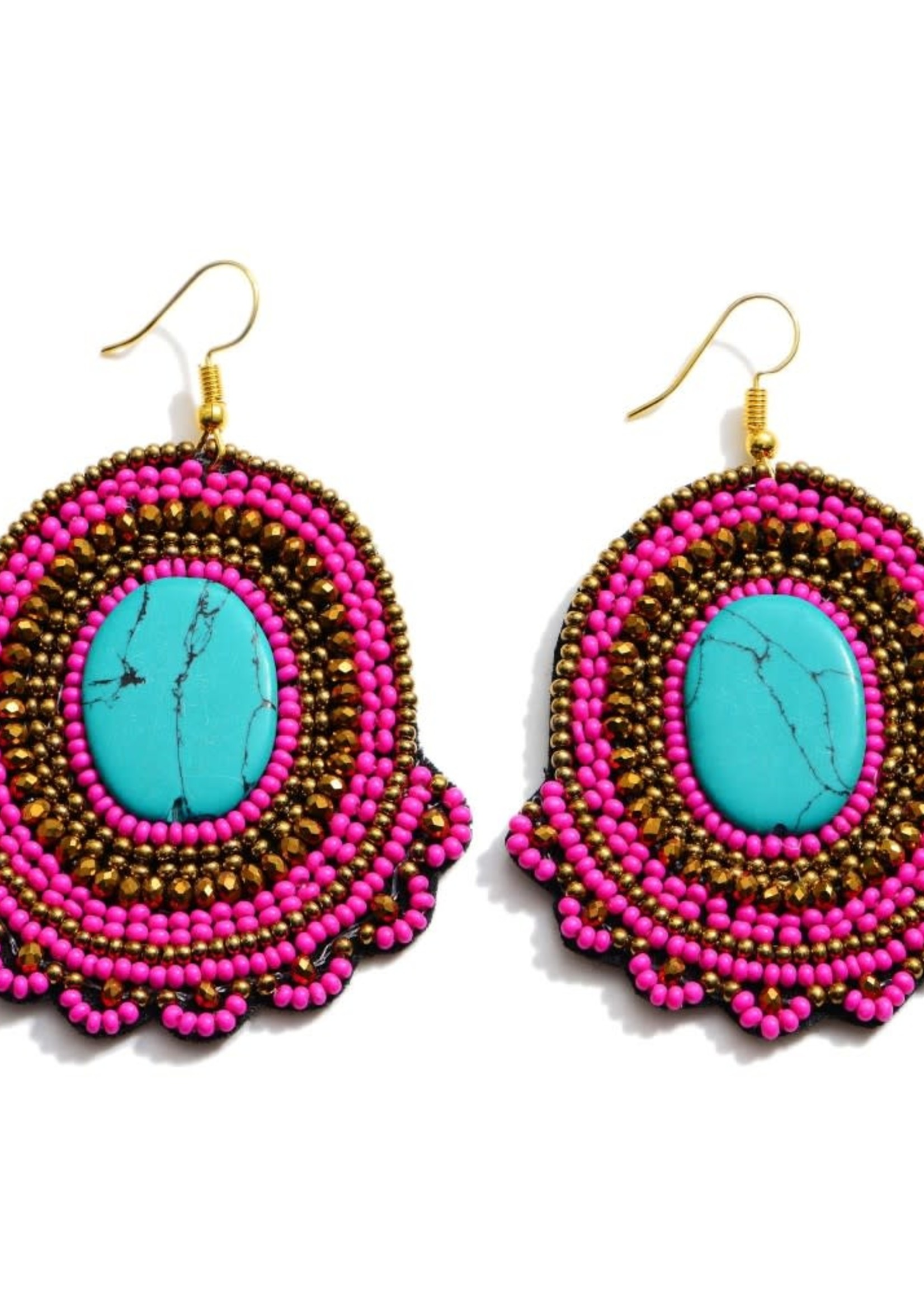 Natural Stone Seed Beaded Statement Earrings