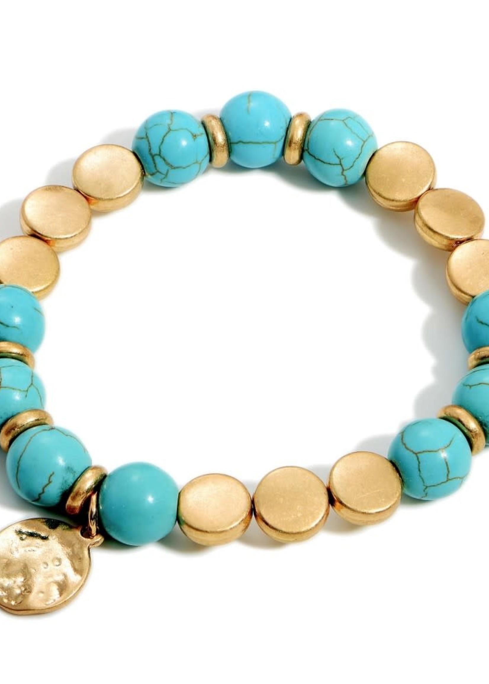 Beaded Stretch Bracelet Hammered Gold Pendant
