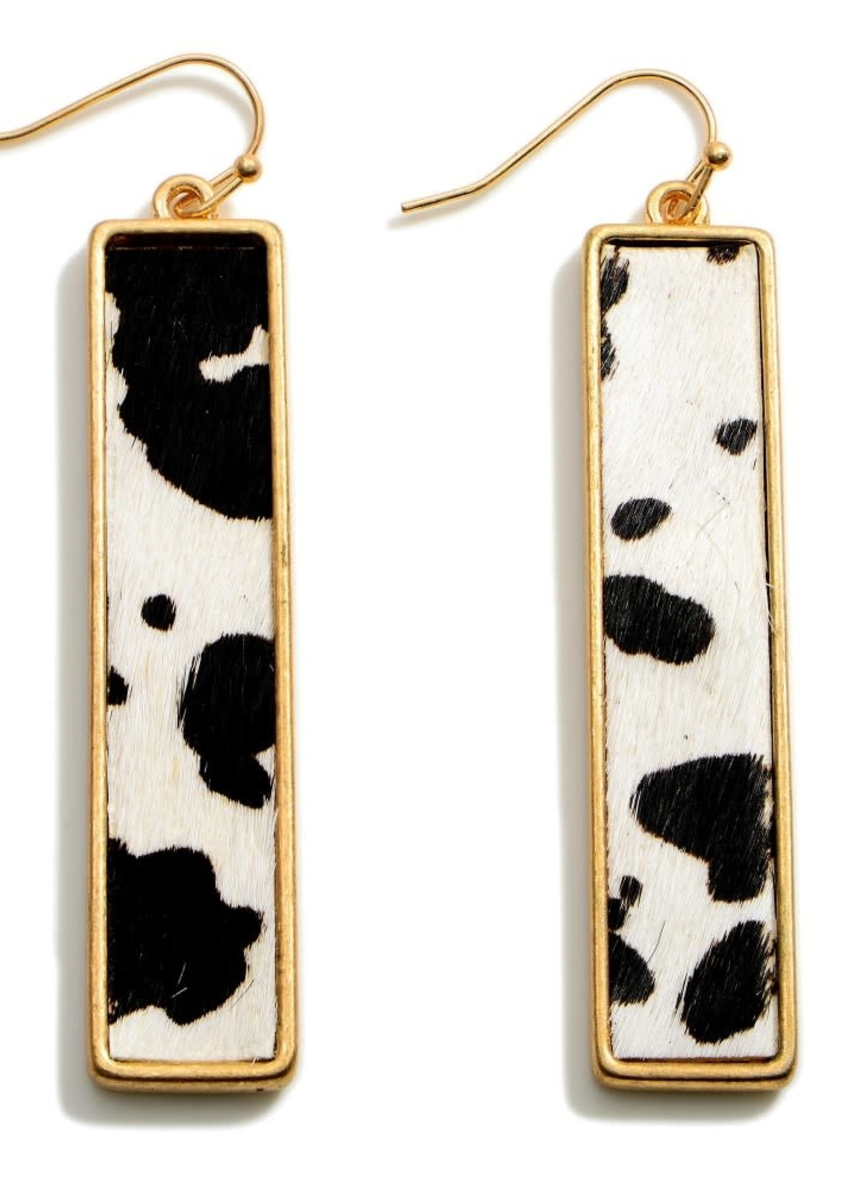 Textured Cow Print Rectangular Drop Earrings