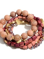 Beaded Bracelet Stack Gold Accents