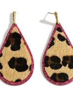 Pink Glitter Leopard Earrings