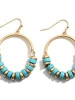 Turquoise Metal Drop Earrings