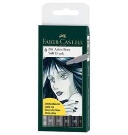 FABER-CASTELL Faber-Castell Faber Castel Art and Graphic, Pitt Artists Pens, Set of 6 Soft Brush Tip (SB), Shades of Grey