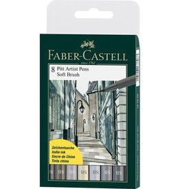 FABER-CASTELL Faber-Castell F167808 8 x Pitt Artist Pens (Soft Brush) Shades of Grey