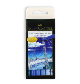 FABER-CASTELL Faber Castel Art and Graphic, Pitt Artists Pens, Set of 6 Brush Tip (B), Shades of Blue