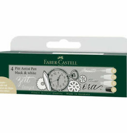 FABER-CASTELL Faber-Castell Pitt Artist Pens - 4 India Ink Pen Wallet Set - 3 White, 1 Black Assorted Nib Styles