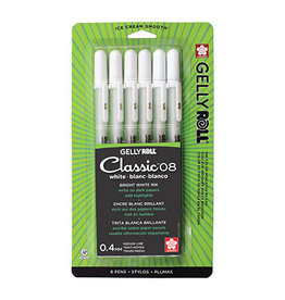 Sakura Gelly Roll Classic 08 Medium 6 Pk White