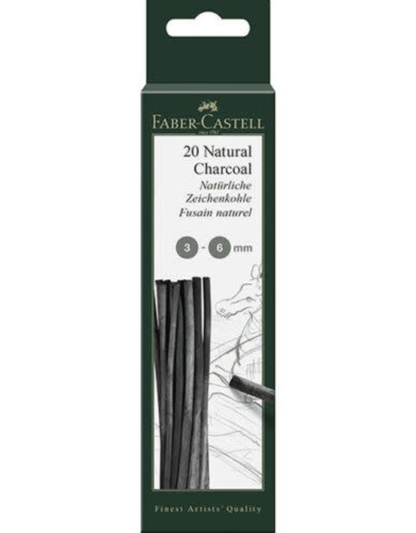 FABER-CASTELL 20 NATURAL CHARCOAL 3-6MM