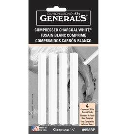 General Pencil General Pencil Compressed Charcoal Set, white, 4/Pkg.