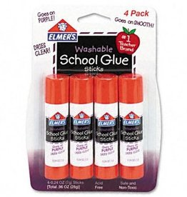ELMERS Elmer's Disappearing Purple School Glue Sticks, 0.24 oz Each, 4 Sticks per Pack