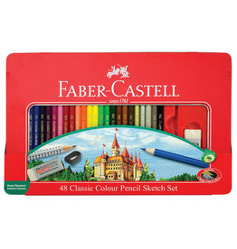 FABER-CASTELL 48ct Classic Color Pencil & Sketching Tin Set