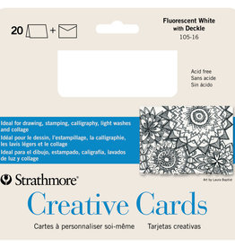 "Strathmore Strathmore Creative Cards and Envelopes, 5"" x 6.875"", Fluorescent White/Deckle, 20 Pack"