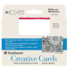 "Strathmore Strathmore Creative Cards and Envelopes, 5"" x 6.875"", Ivory/Red Deckle, 50 Pack"