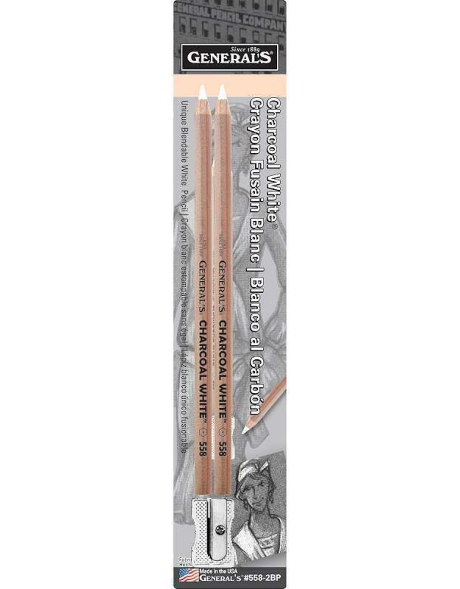 General Pencil General Pencil Charcoal White Pencils 2B 2pk