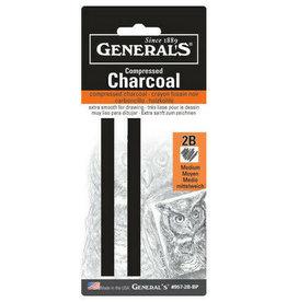 General Pencil Compressed Charcoal No. 2B Hard, Square, 2 pk