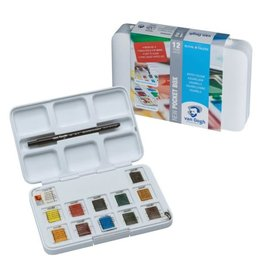 Royal Talens Van Gogh Watercolour Plastic Pocket Box  12 Pan General Selection
