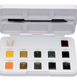 Royal Talens Van Gogh Watercolour Plastic Pocket Box  12 Pan Shades Of Nature