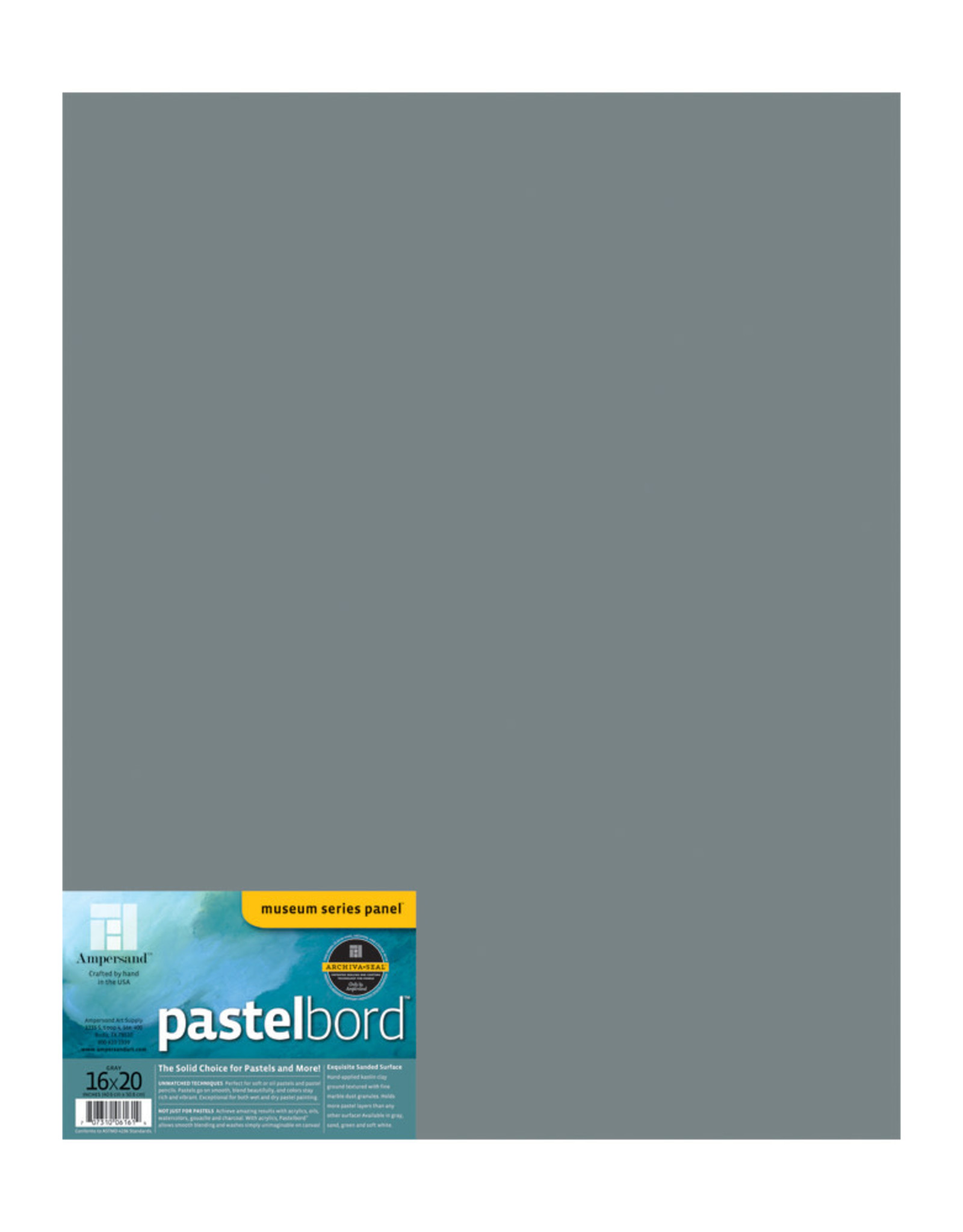 Ampersand Art Ampersand Pastelbord Grey 1/8'' Flat 16x20