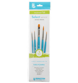 Princeton Select Artiste, Mixed-Media Brushes for Acrylic, Oil, Watercolor Series 3750, 5 Piece Value Set 115